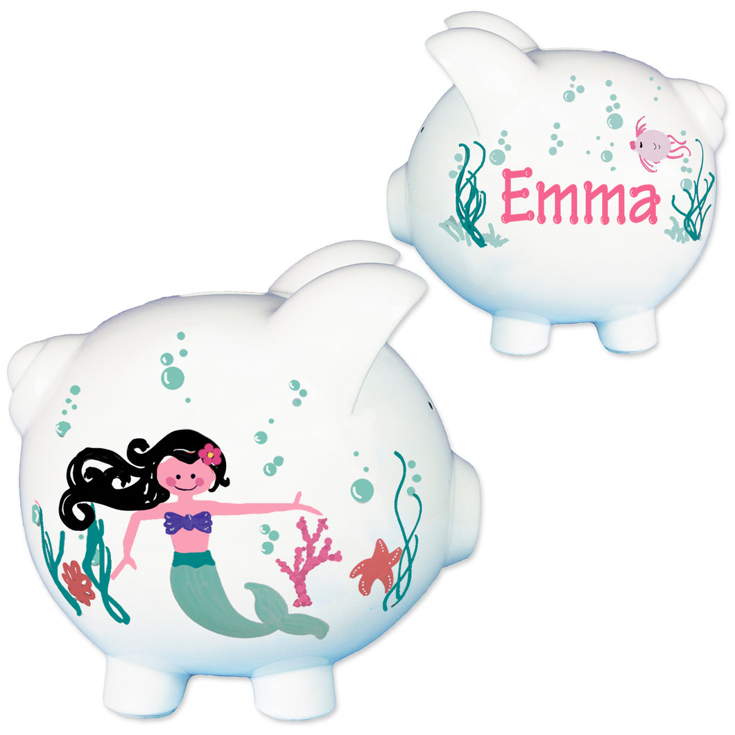 girls black hair mermaid piggy bank