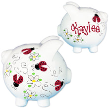 personalized red ladybug piggy bank