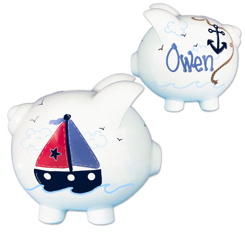 Boys Sailboat Piggy bank hand painted