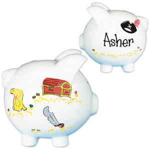 Personalized Pirate Piggy Bank for Boys