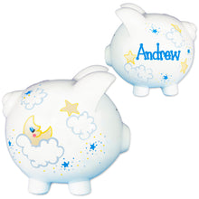 Personalized moon and stars piggy bank