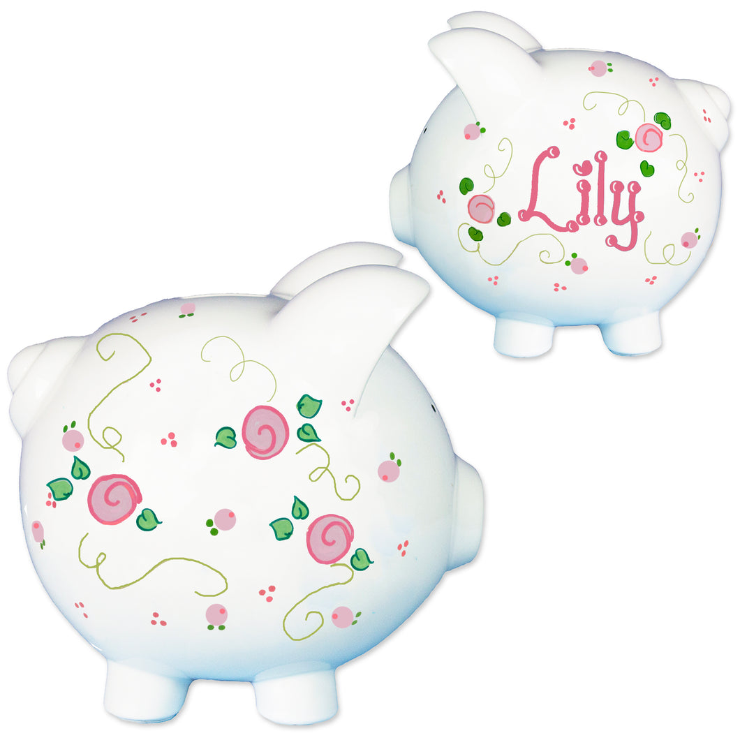 Girls Rosie posie piggy bank hand painted
