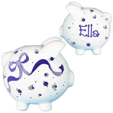 Girls lavender bow flowers piggy bank personalized