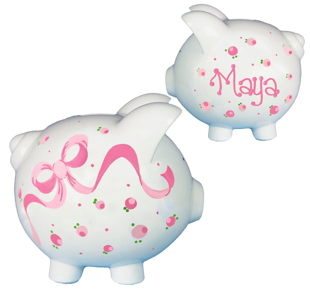 Girls pink bow flowers piggy bank personalized