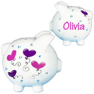 Hand Painted Piggy Bank with Heart balloons