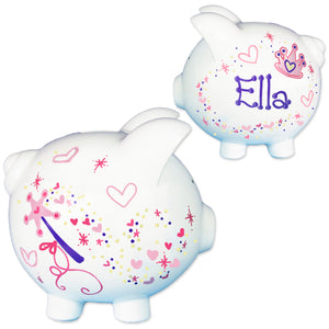 Girls Hand painted princess crown piggy bank