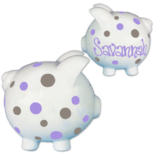 Girls lavender dot piggy bank hand painted
