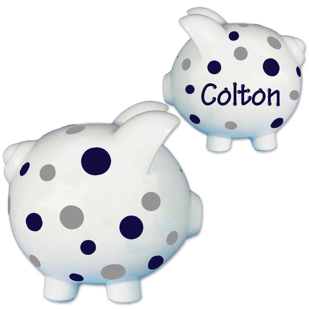 Child's navy blue polka dot hand painted piggy bank