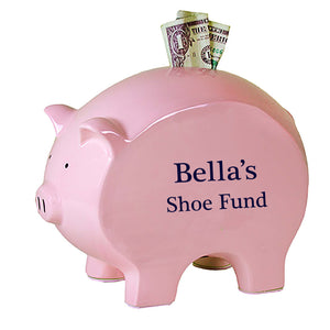 Personalized Pink Piggy Bank - Name Only