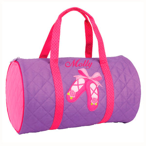 Embroidered Quilted Ballet Duffle