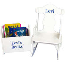 personalized rocking chair book holder gift set