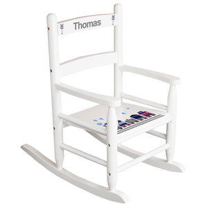 White Slat Back Rocking Chair with Train Design