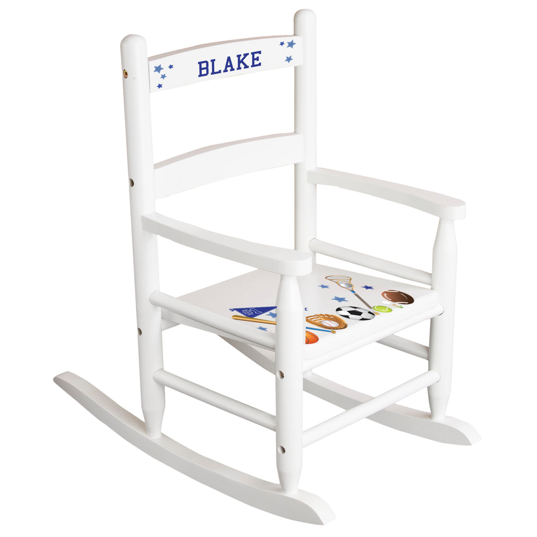White Slat Back Rocking Chair with Sports Design