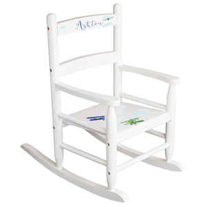 White Slat Back Rocking Chair with Airplane Design