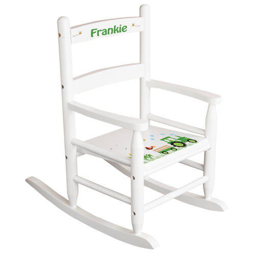 White Slat Back Rocking Chair with Green Tractor Design