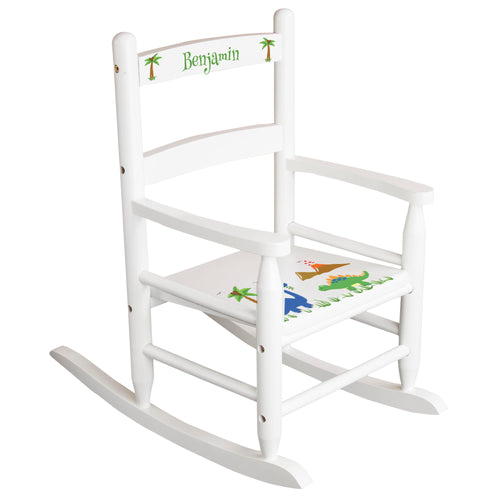White Slat Back Rocking Chair with Dinosaur Design