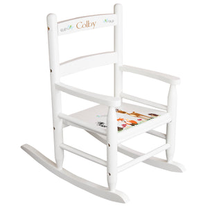 White Slat Back Rocking Chair with Woodland Design