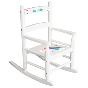 White Slat Back Rocking Chair with Rainbow Design