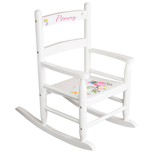 White Slat Back Rocking Chair with Calico Owl Design