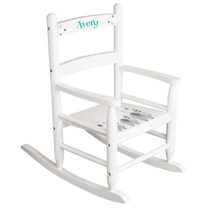 White Slat Back Rocking Chair with Gray Elephants Design