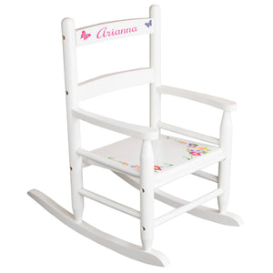 White Slat Back Rocking Chair with Butterfly Garland Design