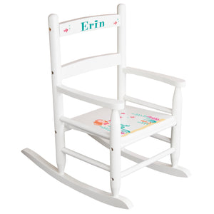 White Slat Back Rocking Chair with Mermaid Design