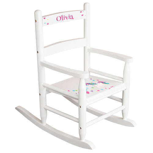 White Slat Back Rocking Chair with Unicorn Design
