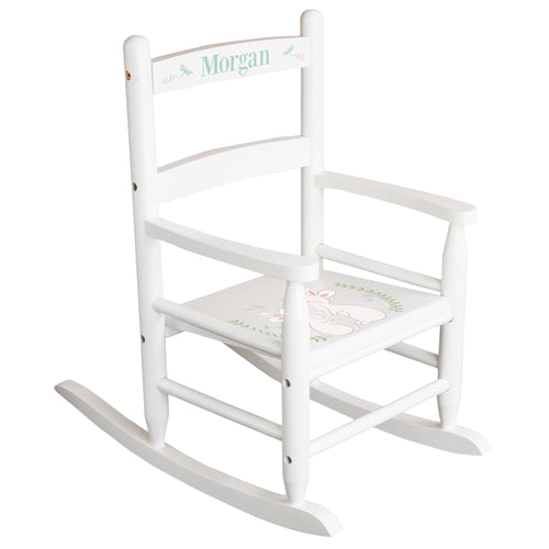 White Slat Back Rocking Chair with Classic Bunny Design