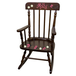 Hand Painted Spindal Rocker-Espresso