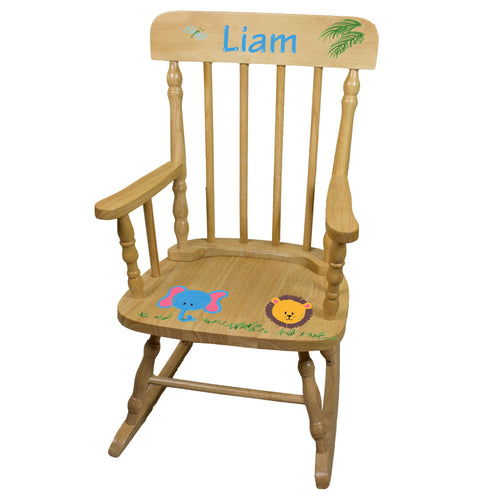 Hand Painted Natural Wood Spindle Rocker