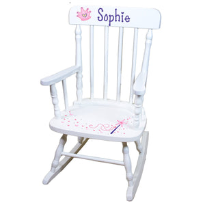 Hand Painted Spindal Rocker-White