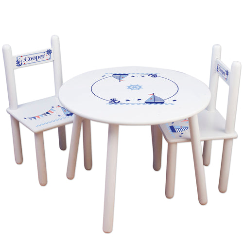 Personalized Table and Chairs Sailboat design