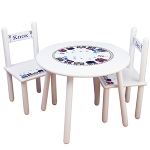 boys personalized train table and 2 chair set