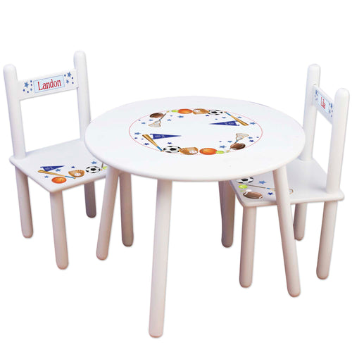 boys personalized sports table and 2 chair set