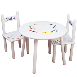 childs play table with personalized chairs crayons