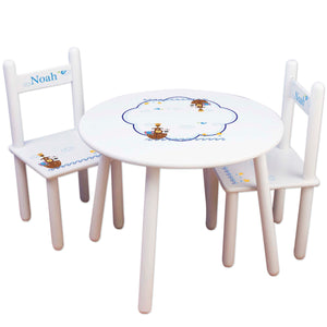 childs personalized noah's ark table chair set