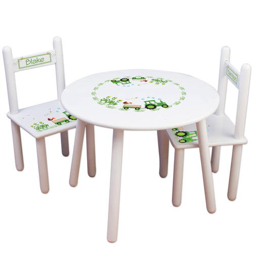 Personalized Table and Chairs green Tractor design