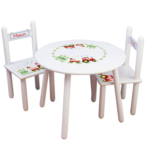 Personalized Table and Chairs red Tractor design