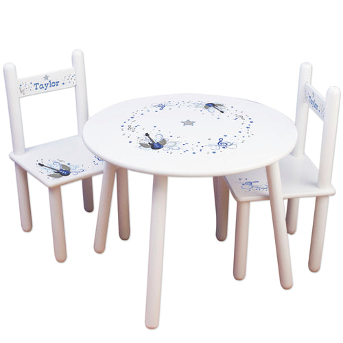 Child's White Table Chair Set - Blue Rock Star