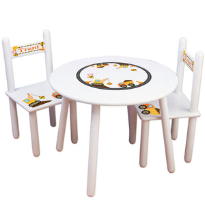 Boys construction table chair set personalized