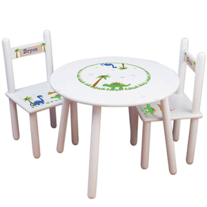 Boys dinosaur table chair set personalized