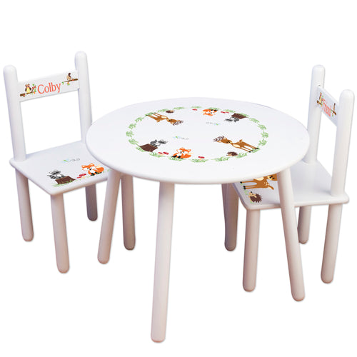 childrens forest woodland animal table chair set