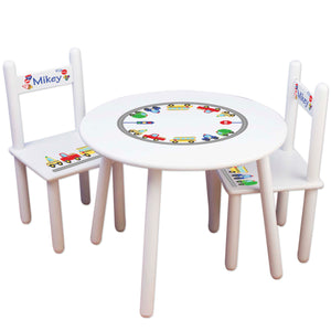 boys cars and trucks table chair set personalized