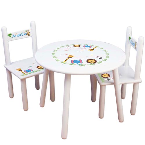 kids table and chair jungle animals