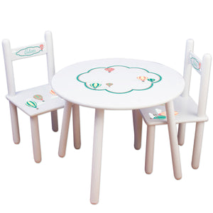 Personalized Table and Chairs with Hot Air Balloon Primary design