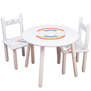 childrens rainbow round white table with personalized chairs