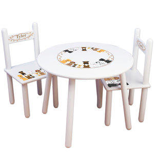Personalized Table and Chairs with Blue Dogs design