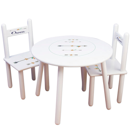Personalized Table and Chairs with Tribal Arrows Boy design