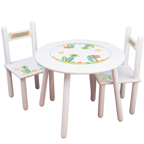 Childrens Personalized surf theme Table and Chairs set