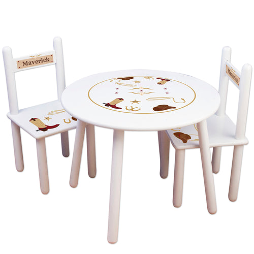 Childs personalized cowboy table chair set for playroom